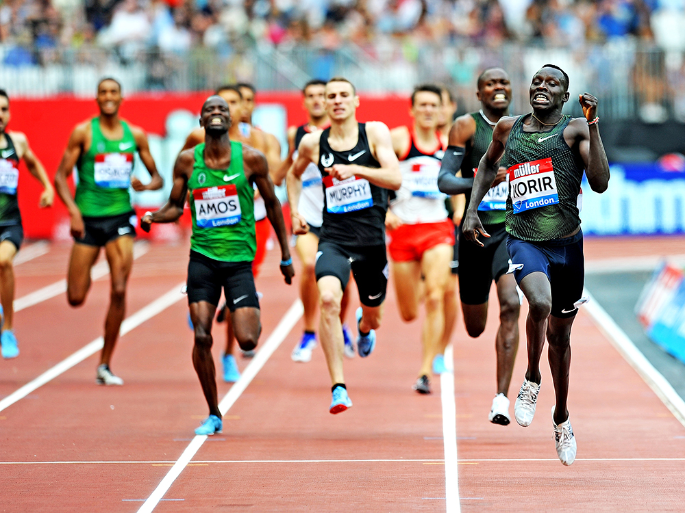 6e00765a26ddb A 1 42.05 for Emmanuel Korir moved him to No. 6 on the all-time world list.  (MARK SHEARMAN)