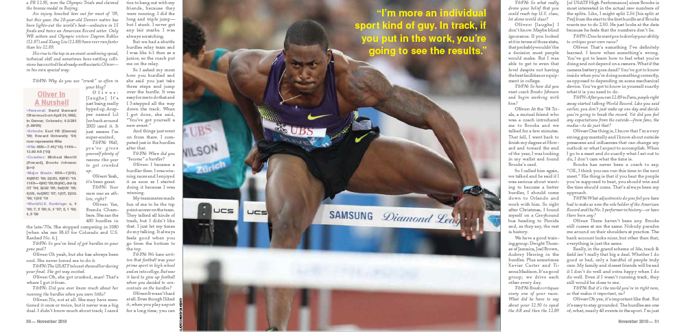 T&FN Interview Reboot — David Oliver (November 2010) - Track & Field News