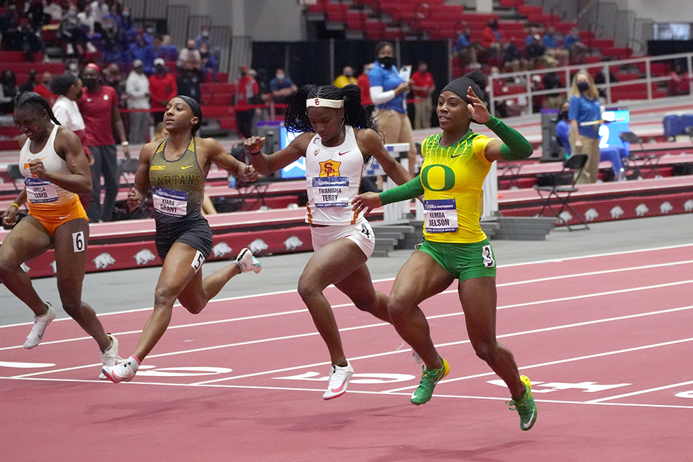kemba nelson 04 21 NCAA Indoor Women Day 3 — Arkansas Does It The Hard Way